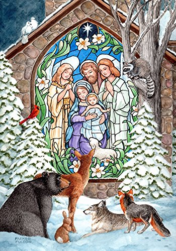 DIYCCY Winter Krippe 68,6 x 94 cm Dekorativer Glasmalerei-Weihnachten Kirche Animal House Flagge (Winter Glasmalerei)