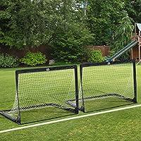 Cage de foot but de foot pop-up lot de 2 cages 122L x 80l x 91H cm avec sac de transport fibre verre tétoron noir blanc 05