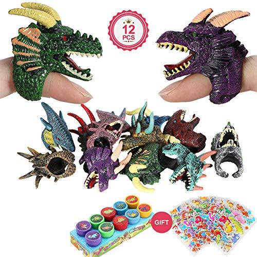 eug, 12 stücke Finger Spielzeug Drachen Ringe Puppe Mit Dinosaurier Selbstfarbe Stempel Aufkleber für Kinder Jungen Mädchen Party Favors Geschenk ()