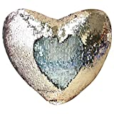 """Mermaid Throw Pillow with Insert , Play Tailor Reversible Sequins Pillow Heart Shape Decorative Cushion(13""""x15"""",Silver+Champagne)"""