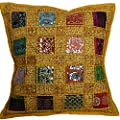 "16"" Recycled Sari Cushion Cover 40cm Indian Moroccan Yellow"