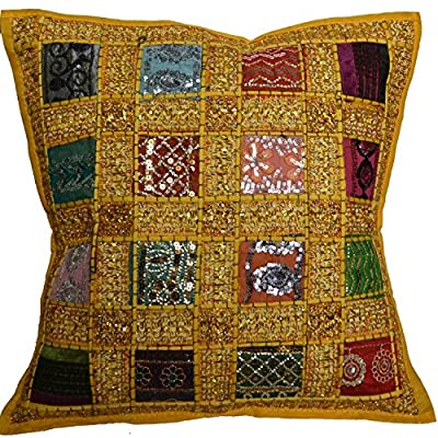 """16"""" Recycled Sari Cushion Cover 40cm Indian Moroccan Yellow"""