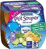 Nestlé Bébé P'tit Souper Crème de Légumes Verts Petites Pâtes - Plat Légumes et féculents dès 8 mois - 2 x 200g -Lot de 4