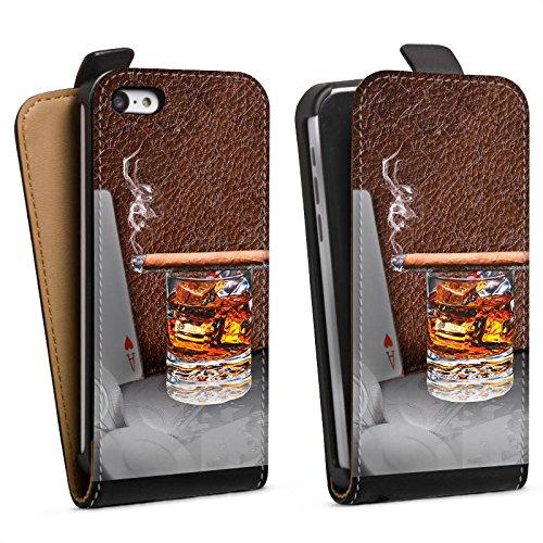 DeinDesign Tasche kompatibel mit Apple iPhone 5c Flip Case Hülle Zigarre Whiskey Whisky (Iphone 5c Case Whiskey)