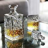 Newport Whisky oder Cognac Karaffe JFK aus Kristall, mundgeblasen & handgeschliffen, Kristallkaraffe mit Deckel für 750ml