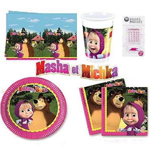Uni que Set cumpleano Masha y el Oso Michka Decoración Cumpleaños 16 Niños (16 Platos, 16 Tazas, 20 servilletas,1 Mantel + 10 Velas Mágicas ) Fiesta para 16 Niños