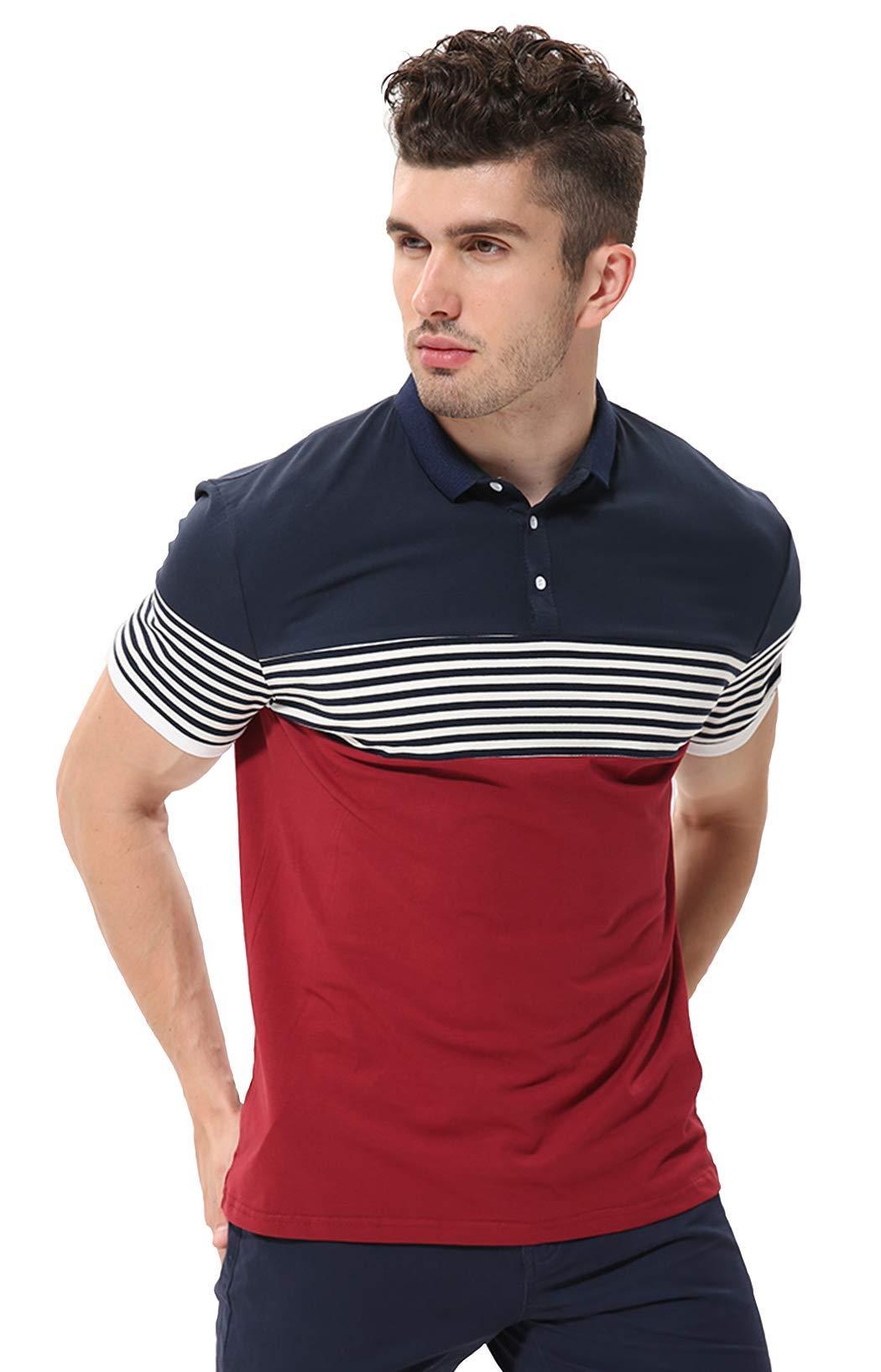 5f8db9dabd9 fanideaz Men s Cotton Red Half Sleeve Striped Polo T Shirt with Collar