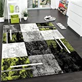 Alfombra Moderna De Diseño Perfilado - A Cuadros - Gris Negro Verde, Grösse:60x110 cm