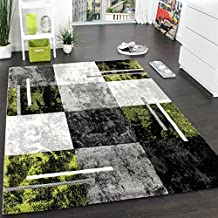 Alfombra Moderna De Diseño Perfilado - A Cuadros - Gris Negro Verde, Grösse:200x290 cm