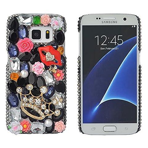spritech (TM) Bling Phone, 3D Handmade Colorful Kristall Design klar Hard Handy Fall, schwarz