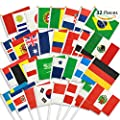 HusDow 32pcs World Cup Hand Waving Flags, Russia 2018 Football Stick Flag Top 32 Nations Fabric Bunting Flags for Football Night, Garden Banners, Bar and Garden Decoration