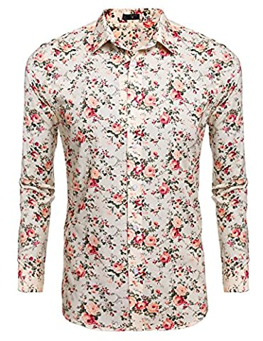 Men's Long Sleeve Beige Casual Cotton Stand Collar Button Floral