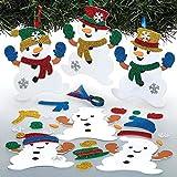 """Baker Ross Mix & Match-Bastelset für Deko-Anhänger """"Schneemann"""" für Kinder – für weihnachtliche Bastelarbeiten und Dekorationen (6 Stück)"""