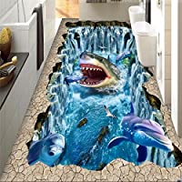 Lqwx Papel Tapiz Personalizado Para Paredes 3 D Piso Shark Dolphin 3D Pintura Pvc El Pvc Autoadhesivo Wallpaper Wall Papers Decoracion 200Cmx140Cm