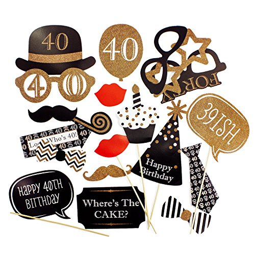 Oblique Unique® 20 Fotorequisiten Fotoaccessoires Foto Booth 40. Geburtstag Jubiläum Feier Birthday Party Masken