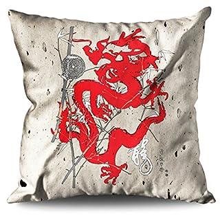 Wellcoda Fantasy Dragon Mystic Asia Final Linen Cushion/Trow Pillow 60cm x 60cm