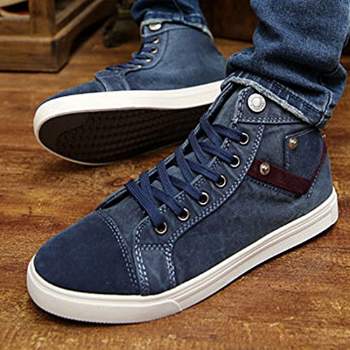 Azbro Modern High Top Lace-Up Round Toe Canvas Men Shoes Grey RBMzgii
