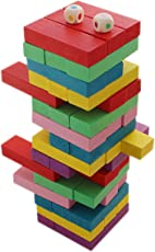 Abee Colourful Wooden Tumbling Tower Building Dominoes Blocks (Multicolour, 24cm) - 48 Pieces