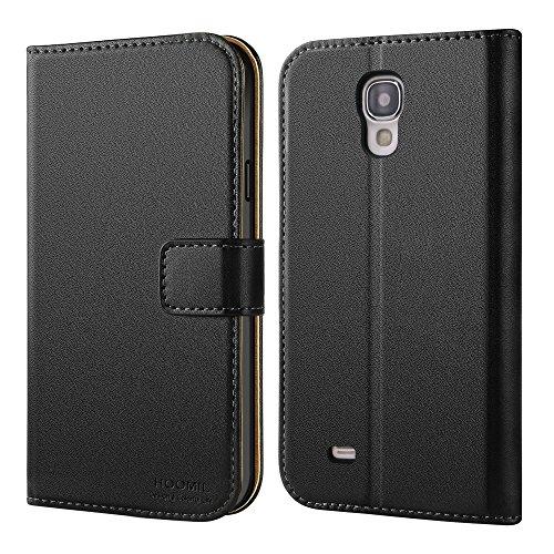 HOOMIL Handyhülle für Samsung Galaxy S4 Hülle, Premium Leder Flip Schutzhülle für Samsung Galaxy S4 Tasche, Schwarz