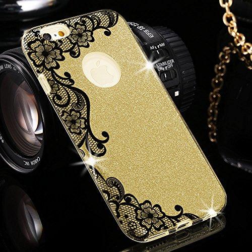 EGO Hülle Glitzer Schutzhülle für iPhone 6 6S Silber Schmetterling Back Case Bumper Glänzend Transparente TPU Bling Weiche Glamour Handy Cover Spitze Gold