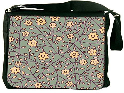 Snoogg Cream Flowers Padded Compartment Carrying Case Sleeve Laptop Notebook Shoulder Messenger Bag For All 15 - 15.6