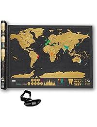 Mapa Del Mundo Para Rascar Premium.+ REGALO Una Báscula Digital Para Pesar Maletas 40 kg. Negros. Scratching Map Para Registrar Tus Aventuras. Evita Sobrecargos En Tus Viajes. Un Regalo Perfecto!