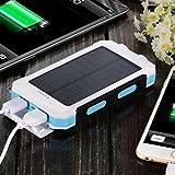 10000mAh Solar Power Bank, Solar Ladegerät, Externer Akku mit superhelle Taschenlampe, Akku pack für Handy (Weiß-Blau) - 5