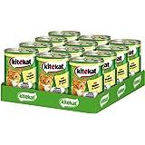 Kitekat Katzenfutter Nassfutter Adult für erwachsene Katzen mit Huhn in Sauce, 12 Dosen (12 x 400g)