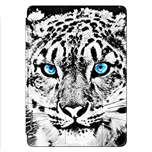 Enthopia Designer Front Smart Cover BLUE EYED WHITE CHEETAH for Ipad Mini 2/3 with Transparent Back Case