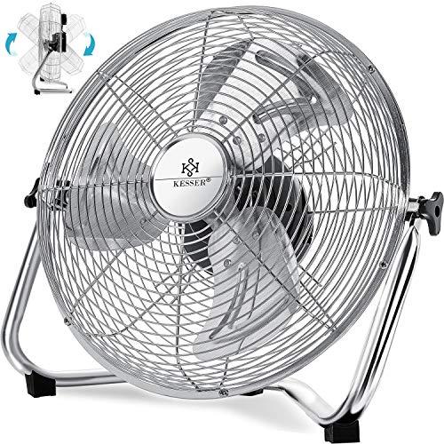 Kesser® Windmaschine Retro Stil | 50cm Ventilator in Chrom | Standventilator | Tischventilator Bodenventilator | 3-Stufen | robuster Stand | stufenlos neigbarer Ventilatorkopf | Chrom Silber