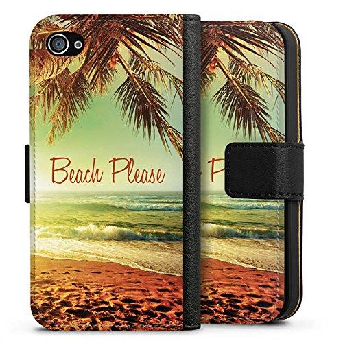 Apple iPhone 7 Hülle Tough Case Schutzhülle Beach Please Urlaub Strand Palmen Sideflip Tasche schwarz