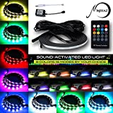 MIHAZ 72 voyants RGB LED Car Underglow Kit Underbody System Neon Lights 2 * 90 + 2 * 120cm w / Sound Active Function et télécommande sans fil Flexible Waterproof Lighting Strip