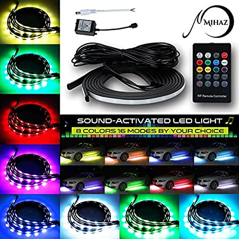 MIHAZ 72 LEDs RGB LED Car Underglow Kit Underbody System Neon Lights 2*90+2*120cm w/Sound Active Function and Wireless Remote Control Flexible Waterproof Lighting Strip