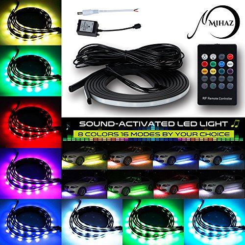 MIHAZ 72 LEDs RGB LED Auto Underglow Kit Unterboden System Neonlichter 2 * 90 + 2 * 120cm w / Sound Active Funktion und Wireless Fernbedienung Flexible Wasserdichte Beleuchtung (Zu Und Machen Steckdose Stecker Kostüm)