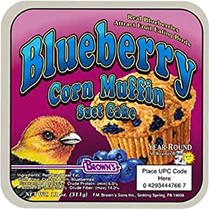 F.M. Brown's Garden Chic Suet and Bread Cakes, 11-1/2-Ounce, Blueberry Corn Muffin