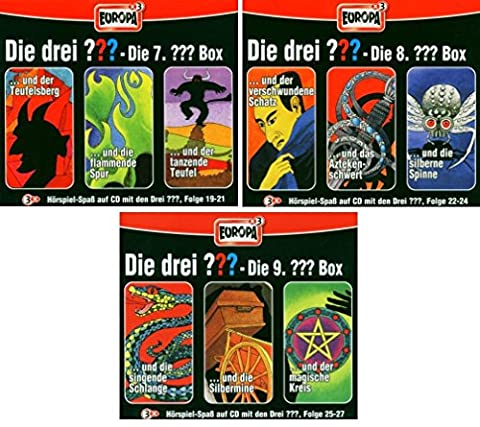 Die Drei ??? (Fragezeichen) - Folgen 19-27 (3 CD Box 7+8+9) im Set - Deutsche Originalware [9 CDs]