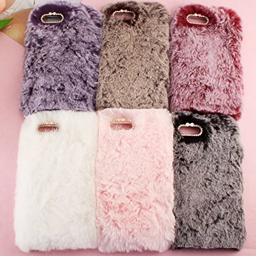 iPhone6S Art Cover, Handmade Fluffy Villi Wool Cute Ball Tail Winter Warm Soft Custodia, TAITOU Beautiful Special Full Wool Design Light Slim Protection Phone Cover For Apple iPhone 6 Brown BWhite