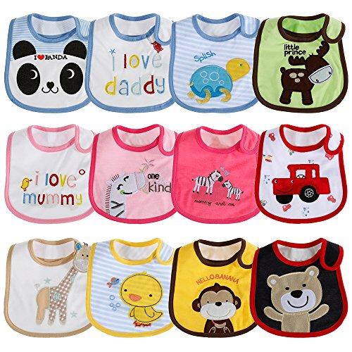 Lictin 12pcs Babylätzchen Baby Lätzchen Weiches Lätzchen Wasserdichtes Lätzchen aus Cotto mit Klettverschluss für Jungen und Mädchen 3-30 Monaten