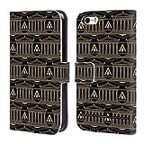 Head Case Designs Offizielle Assassin's Creed Schwarz Und Gold Kolonne Odyssee Muster Brieftasche Handyhülle aus Leder für iPhone 5 iPhone 5s iPhone SE