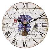 VieVogue Reloj de pared, Reloj de Pared de Cuarzo Estilo Toscano Vintage silencioso Retro Reloj de Madera Sin Tictac (Lavanda, 34cm)