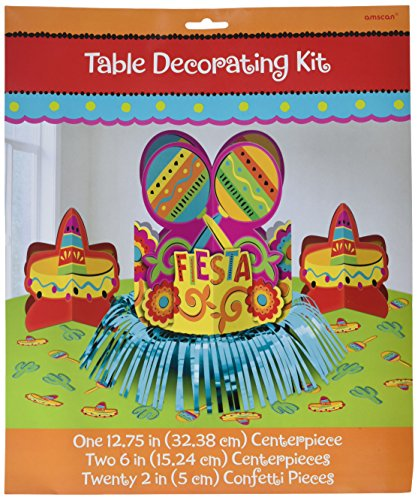 Kostüm Fiesta Kit - Amscan Fun-Filled Fiesta Cinco de Mayo Party Table Decorating Kit, Multi Color, 13.8 x 11.5