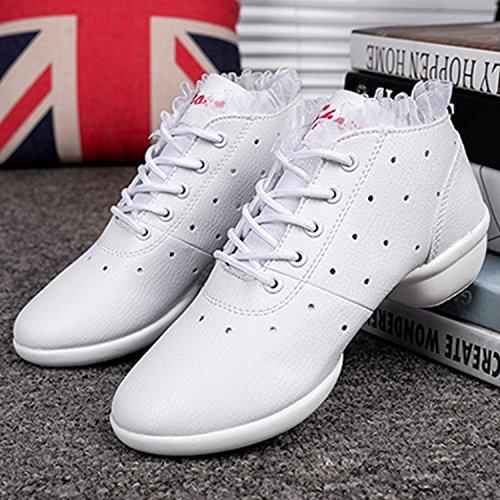 Oasap Women's Fashion Hollow out Ruffle Trim Soft Sole Dance Shoes White