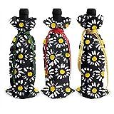 BUXI Printing Christmas Wine Bottle Bag,Manzanilla Floral Abstracta Novedad Roja Bolsas De Botellas De Vino Tinto Coloridas para La Decoración del Hogar De La Cocina 3pack