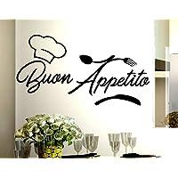 Adesivi Murali frasi Cucina buon appetito cappello cuoco posate scritte italiano wall stickers kitchen decorazione casa…