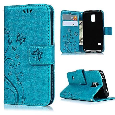 S5 Mini Housse MAXFE.CO Etui en PU Cuir Portefeuille Coque Protection avec Carte Slots Magnétique [Impression] - pour Samsung Galaxy S5 Mini - Papillon Fleur Relief Bleu