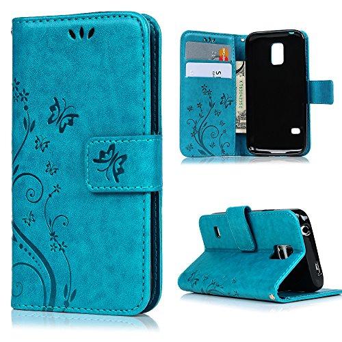 MAXFE.CO Lederhülle Leder Tasche Cover für Samsung Galaxy S5 Mini Hülle PU Schutz Etui Schale Backcover Wallet im Bookstyle mit Standfunktion Karteneinschub und Magnetverschluß Etui Flip Case