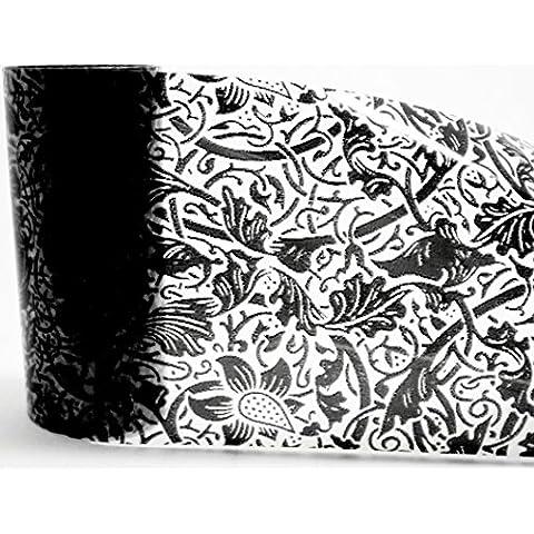 1,0m Nail Art Foil trasferimento/Scratch film fo: # 99: pizzo nero/nero pizzo/fiore (trasparente)