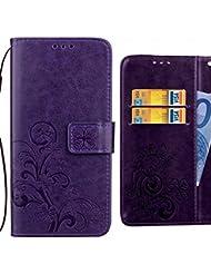 Fundas Meizu M5s Carcasa, Ougger Art Hoja Premium Billetera PU Cuero Magnética Stand Silicona Flip Piel Bumper Protector Tapa Cover con Ranura para Tarjetas (Púrpura)