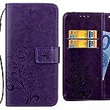 Ougger Handyhülle für Alcatel Pixi 4 (5) Hülle Tasche, Kunst Blatt BriefHülle Tasche Schale Schutzhülle Leder Weich Magnetisch Silikon Cover Schale Hülle mit Kartenslot (Lila)
