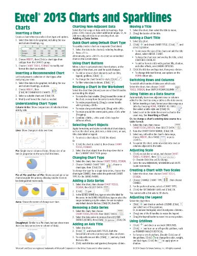 Microsoft Excel 2013 Charts & Sparklines Quick Reference Guide (Cheat Sheet of Instructions, Tips & Shortcuts - Laminated - Cheat 2013 Sheet Excel